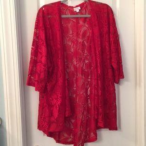 LuLaRoe Red Lace Lindsay Cover-Up Size Lg